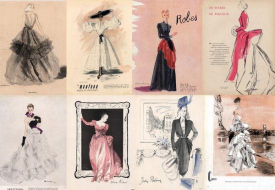 提起Jacques Fath,在国内鲜有人知道此人有些什么作为,然而,当你知道一代优雅大师Givenchy出师于Jacques Fath的时候,你就会明白Jacques Fath在欧洲服装设计历史中的地位了。Jacques Fath生于1912年,Jacques Fath的第一场个人服装秀在1937年举办,一经推出就受到了极大的好评。 Jacques Fath设计手稿,1948年、1947年