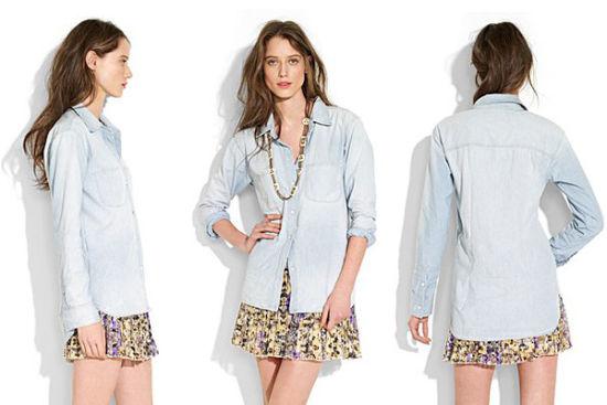 点此展开/折叠侧栏 Alexa Chung同款 perfect chambray shirt,代购参考价:668.00RMB