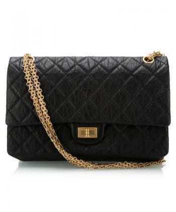 Chanel中号黑色羊皮金属链肩包