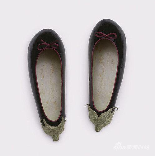 茄子做成的可爱鞋子