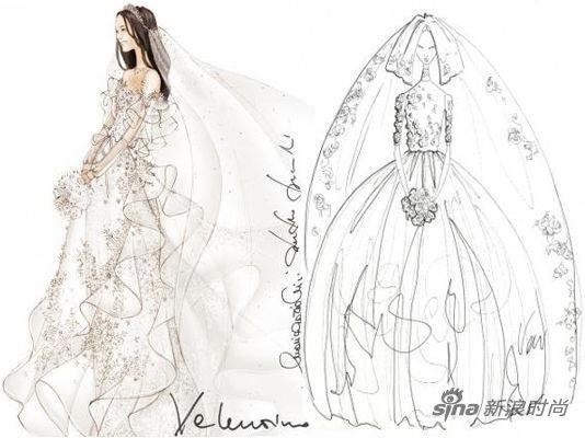 我想到一些摩登花的维多利亚风格元素,香奈儿(微博)设计师拉格菲尔德在谈到他为凯特设计的婚纱时这样说道。 高领设计,搭配粉色蝴蝶结的婚纱手稿,还有拉格菲尔德的手记大面积白色缎面和整齐的蕾丝褶皱,构成 Karl Lagerfeld 的设计手稿。