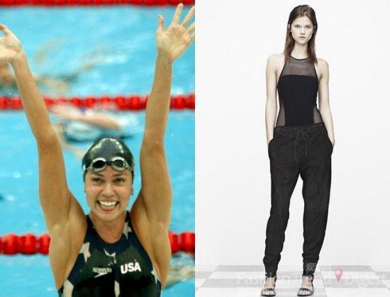 T by Alexander Wang灵感来自游泳选手Natalie Coughlin在水中胜利的造型