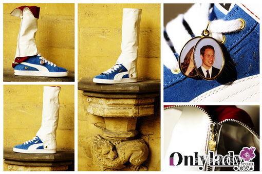 高筒靴的设计,饰有威廉王子和凯特王妃的相片