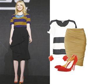 荷叶、抓褶设计让铅笔裙