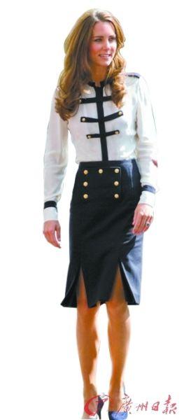 简洁修身又不失英伦军装风的套装让凯特获得时尚界的一片赞叹(资料图片)