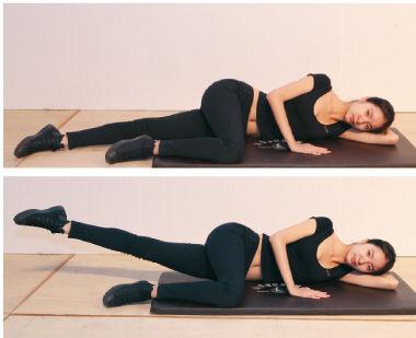 雕塑腿前侧:正面坐好,双手抱住屈膝腿,另一侧的腿向上进行缓慢抬举。