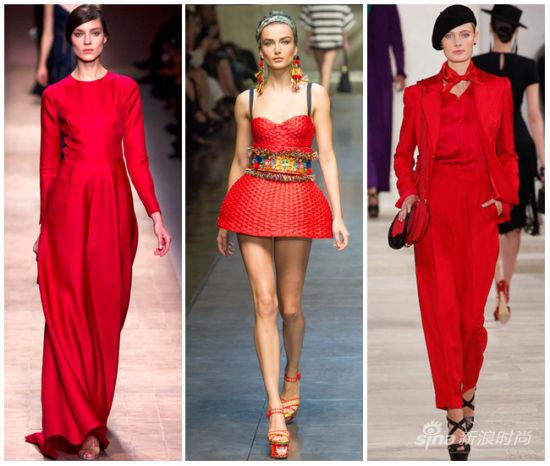 猩红色示范:Valentino,Dolce & Gabbana,Ralph Lauren