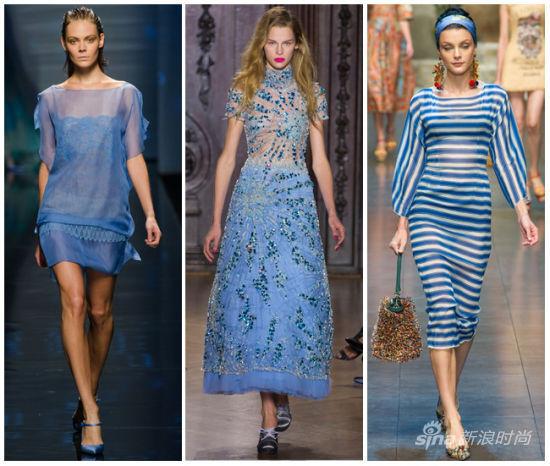 水晶蓝T台示范:Alberta Ferretti,Giles,Dolce & Gabbana