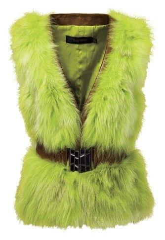 荧光绿色皮草马甲 Bernini 5980