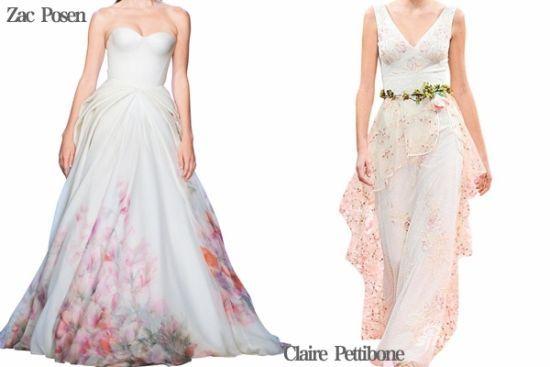 Zac Posen 以丝质双绉透明薄纱安插柔软的水彩花卉来展示其标志性的复古魅力。