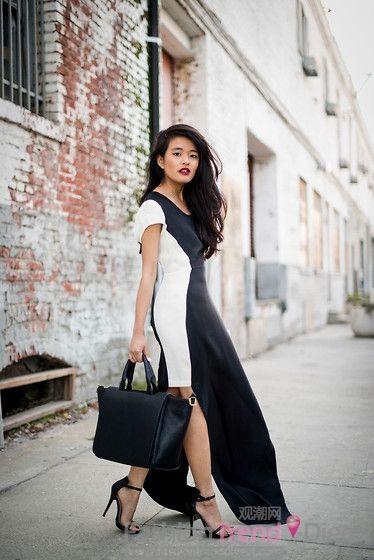 黑白的经典色系长裙