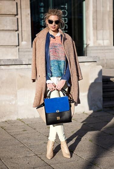 Miu Miu 太阳镜,Topshop的套衫,Celine的包包。