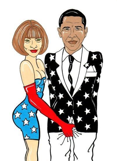 漫画作者AleXsandro Palombo将Anna Wintour与Obama之间的关系恶搞了一番