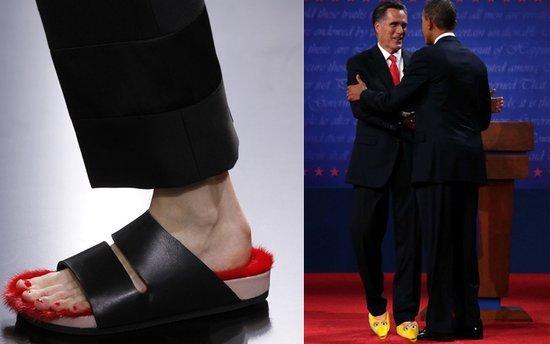 网友恶搞Celine毛毛鞋,将其PS到美国总统候选人罗姆尼脚上